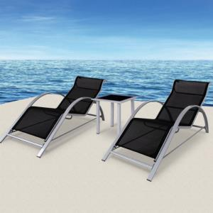 Lot de 2 chaises longues + table basse, en ALUMINIUM