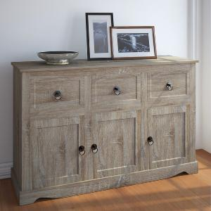 Commode bois naturel, style campagnard, 3 tiroirs